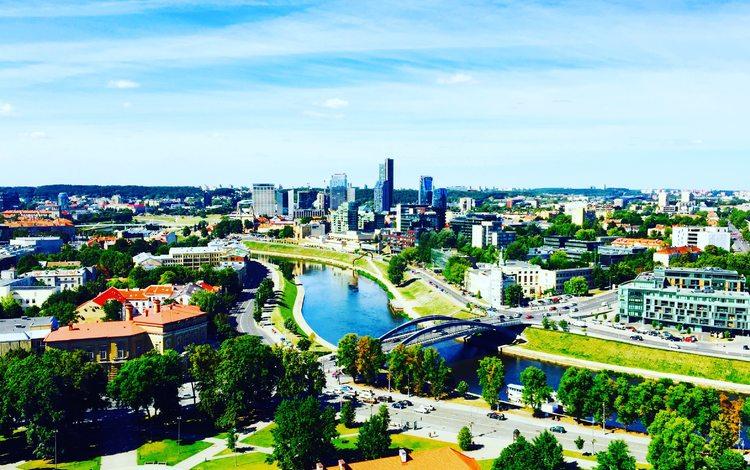 панорама, литва, мост, город, курорт, здания, площадь, городской пейзаж, вильнюс, panorama, lithuania, bridge, the city, resort, building, area, the urban landscape, vilnius