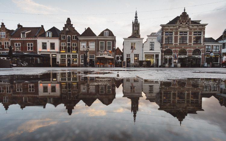 вода, снег, зима, город, архитектура, дворец, здания, голландия, water, snow, winter, the city, architecture, palace, building, holland