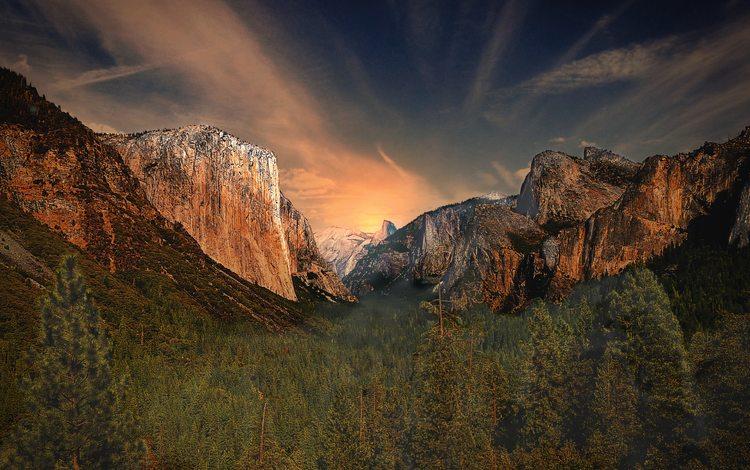 горы, природа, йосемитский национальный парк, mountains, nature, yosemite national park