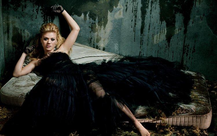 девушка, актриса, певица, черное платье, келли кларксон, girl, actress, singer, black dress, kelly clarkson