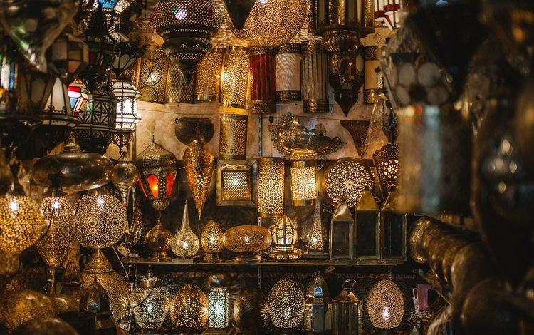 ночь, рынок, город, лампы, светильники, марокко, базар, night, market, the city, lamp, lamps, morocco, bazaar