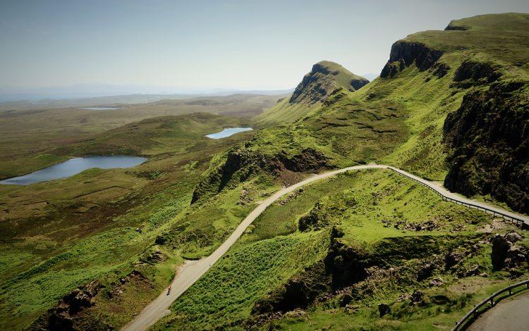 дорога, горный хребет, трава, горы, холмы, природа, пейзаж, долина, утес, road, mountain range, grass, mountains, hills, nature, landscape, valley, rock