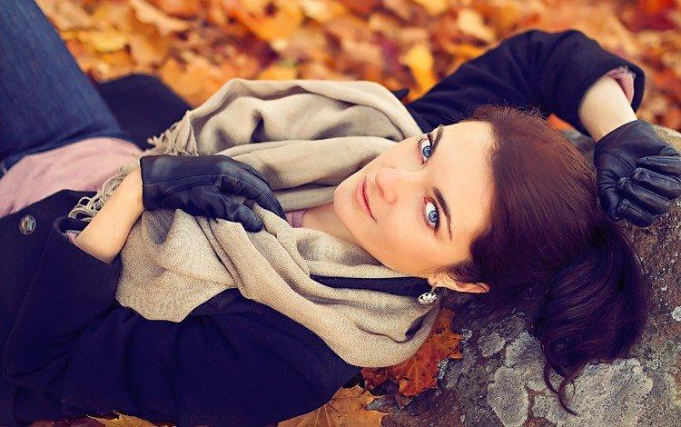 leaves, girl, look, autumn, hair, face, gloves, blue-eyed