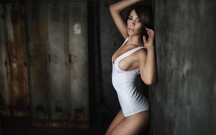 девушка, поза, стена, фигура, секси, майка, girl, pose, wall, figure, sexy, mike