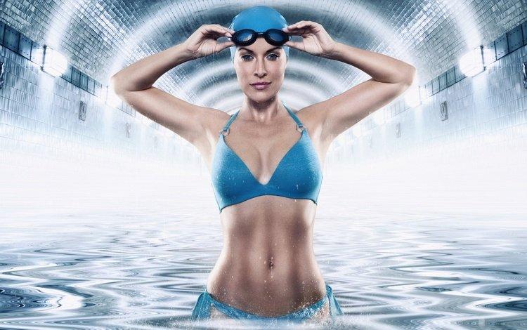 girl, smile, glasses, swimsuit, cap, swimmer, werner burgstaller