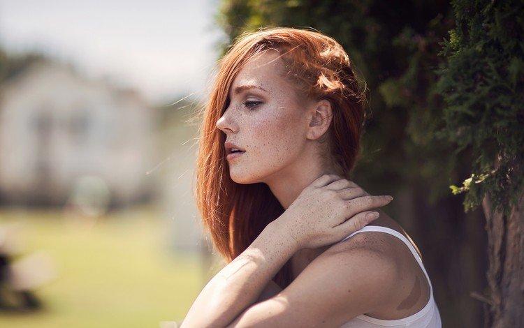 девушка, кира кармайкл, рыжая, модель, профиль, волосы, лицо, веснушки, ruby james, kyra karmichael, girl, keira carmichael, red, model, profile, hair, face, freckles