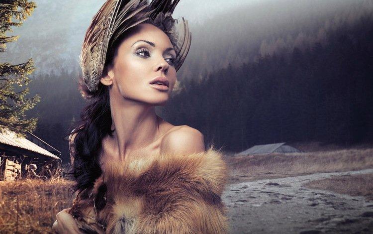 девушка, мех, портрет, гламур, брюнетка, голые плечи, взгляд, модель, губы, лицо, перья, girl, fur, portrait, glamour, brunette, bare shoulders, look, model, lips, face, feathers