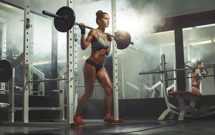 модель, фитнес, спортзал, штанга, тренировка, model, fitness, the gym, rod, training