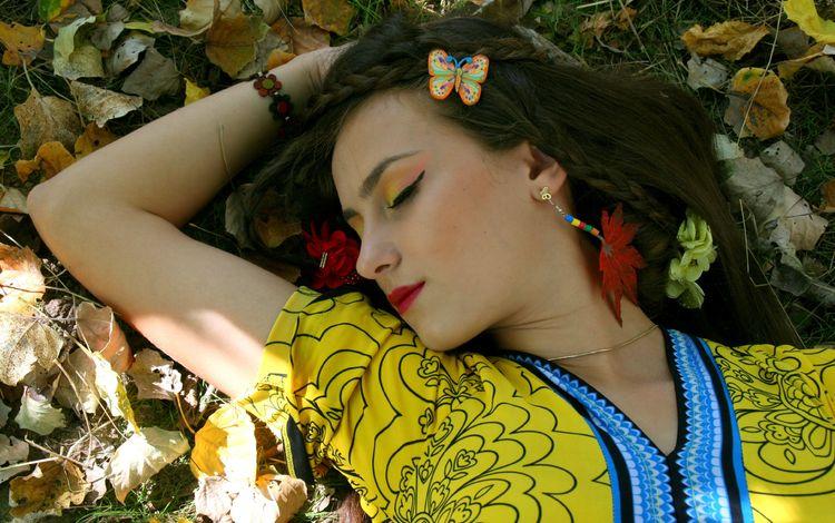 листья, девушка, осень, лицо, закрытые глаза, leaves, girl, autumn, face, closed eyes