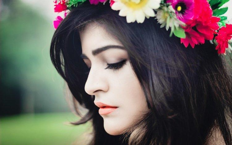 девушка, закрытые глаза, брюнетка, критика хурана, модель, профиль, губы, лицо, актриса, макияж, girl, closed eyes, brunette, kritika khurana, model, profile, lips, face, actress, makeup