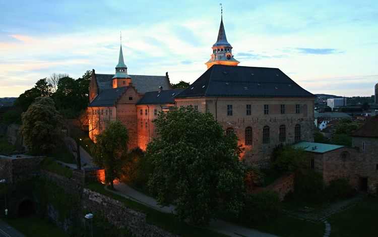 замок, город, архитектура, здание, норвегия, осло, castle, the city, architecture, the building, norway, oslo