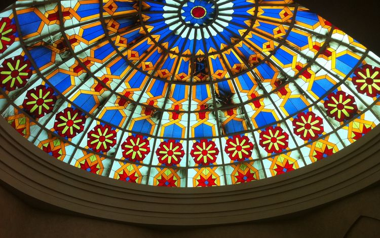 разноцветный, стекло, потолок, купол, витраж, colorful, glass, the ceiling, the dome, stained glass