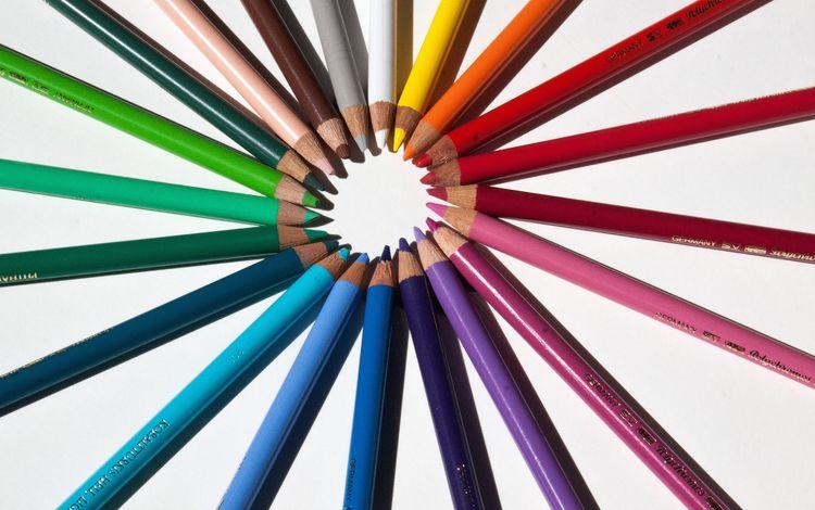 разноцветные, карандаши, цветные карандаши, colorful, pencils, colored pencils
