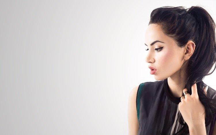 девушка, актриса, портрет, макияж, брюнетка, знаменитость, модель, diipa khosla, дивья кхосла, профиль, волосы, губы, лицо, girl, actress, portrait, makeup, brunette, celebrity, model, divya khosla, profile, hair, lips, face