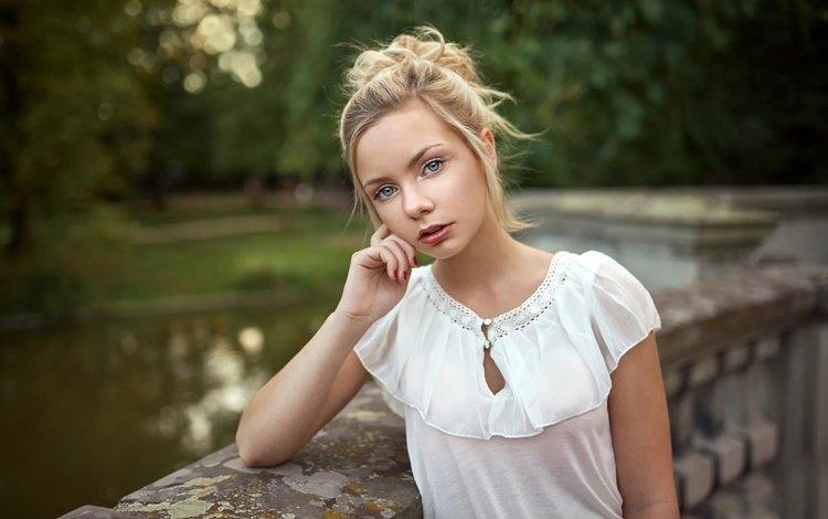 девушка, блондинка, портрет, взгляд, волосы, лицо, lods franck, emilie, girl, blonde, portrait, look, hair, face