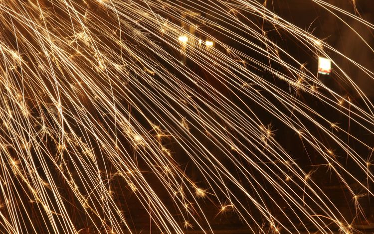 light, night, line, salute, holiday, fireworks, the explosion, sparks