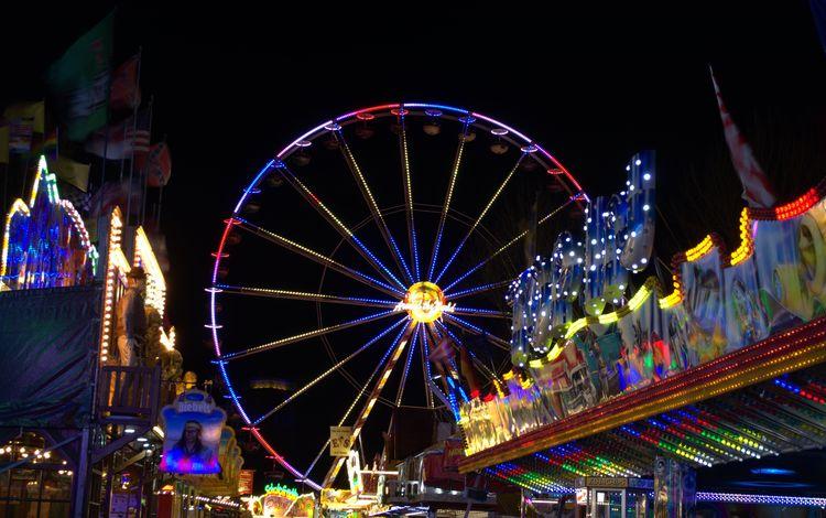 ночь, досуг, огни, парк, колесо обозрения, город, отдых, аттракцион, парк развлечений, night, leisure, lights, park, ferris wheel, the city, stay, attraction, amusement park