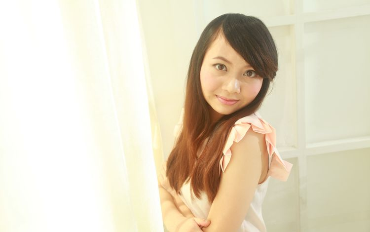 девушка, улыбка, взгляд, модель, волосы, лицо, азиатка, girl, smile, look, model, hair, face, asian