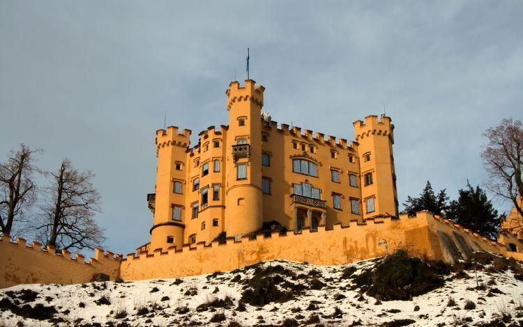 природа, замок, архитектура, германия, бавария, хоэншвангау, nature, castle, architecture, germany, bayern, hohenschwangau