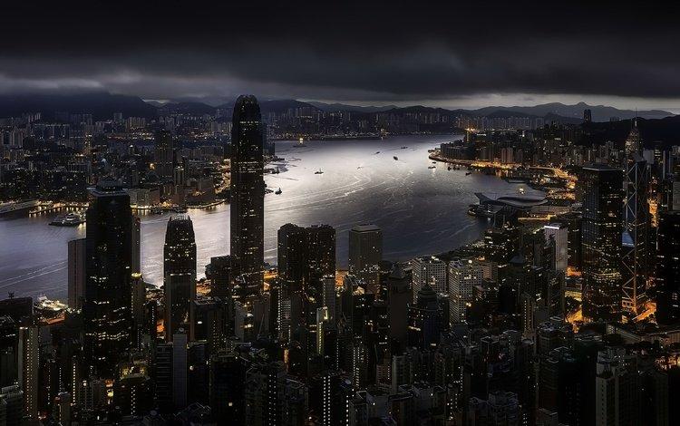 ночь, панорама, город, небоскребы, китай, гонконг, night, panorama, the city, skyscrapers, china, hong kong