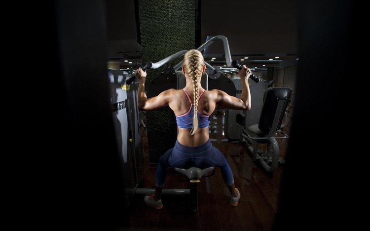 девушка, блондинка, спорт, коса, фитнес, тренажерный зал, girl, blonde, sport, braid, fitness, gym