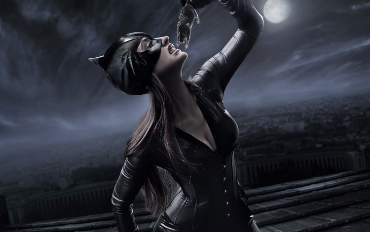 ночь, женщина-кошка, маска, фотоарт, город, луна, фэнтези, костюм, мышка, добыча, night, catwoman, mask, photoart, the city, the moon, fantasy, costume, mouse, mining