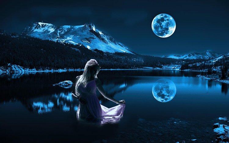ночь, модель, озеро, девушка, отражение, платье, блондинка, гора, луна, night, model, lake, girl, reflection, dress, blonde, mountain, the moon