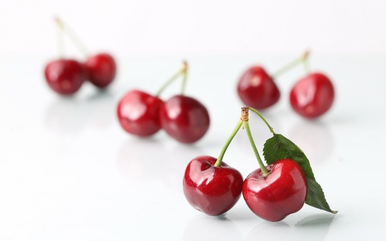 черешня, ягоды, белый фон, вишня, cherry, berries, white background