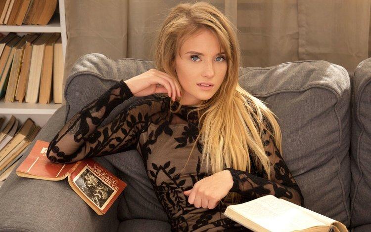 девушка, книга, блондинка, черное платье, взгляд, tempe, книги, модель, волосы, лицо, диван, girl, book, blonde, black dress, look, books, model, hair, face, sofa