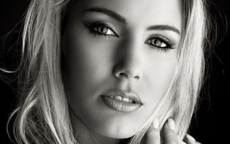 девушка, портрет, чёрно-белое, модель, волосы, лицо, длинные волосы, girl, portrait, black and white, model, hair, face, long hair