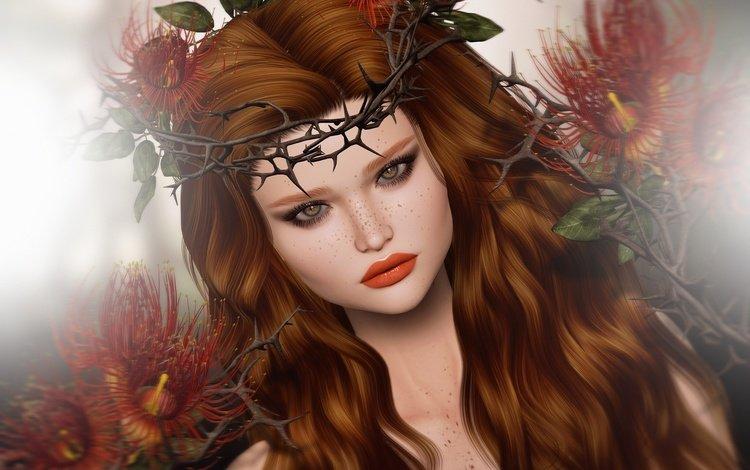 арт, девушка, портрет, взгляд, рыжая, волосы, лицо, веснушки, art, girl, portrait, look, red, hair, face, freckles