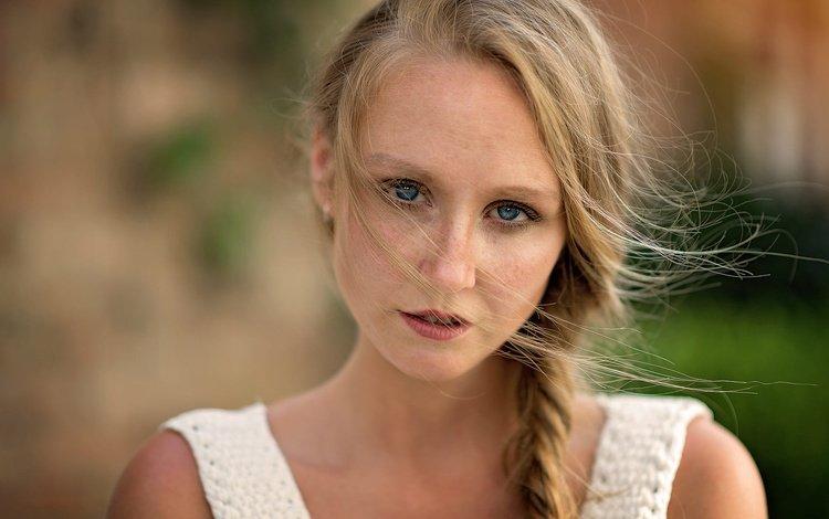 девушка, mark prinz, yaiza, портрет, взгляд, волосы, лицо, коса, веснушки, глаза голубые, girl, portrait, look, hair, face, braid, freckles, blue eyes