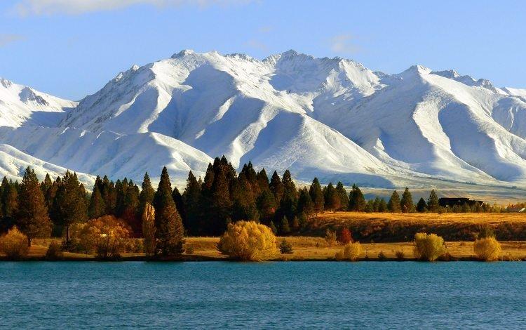 деревья, озеро, горы, снег, осень, горный хребет, trees, lake, mountains, snow, autumn, mountain range