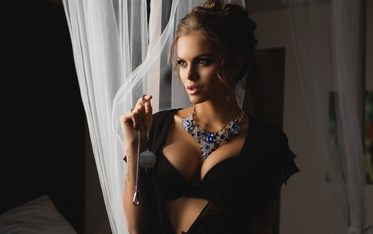girl, look, model, beauty, bra, necklace, photoshoot, viki odintcova, wiki odintsova