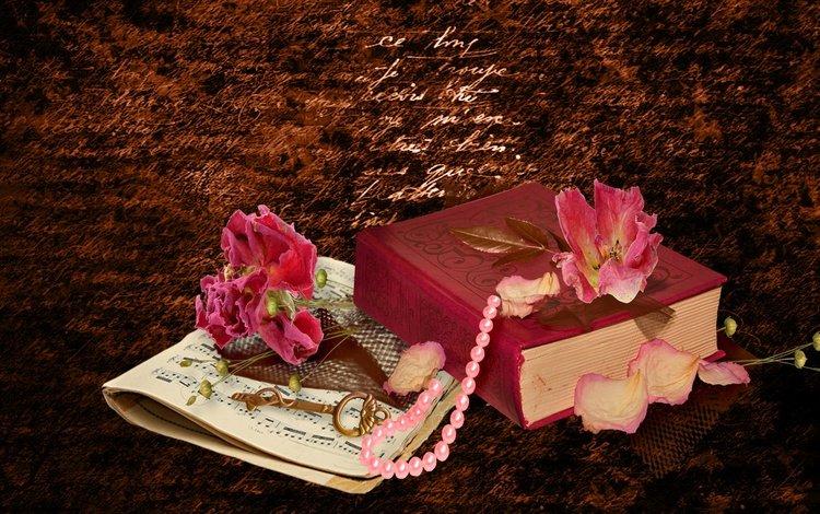 цветы, надпись, ноты, ключ, книга, ожерелье, натюрморт, flowers, the inscription, notes, key, book, necklace, still life