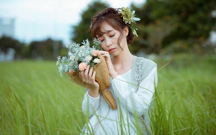 цветы, закрытые глаза, трава, девушка, волосы, букет, губы, лицо, азиатка, flowers, closed eyes, grass, girl, hair, bouquet, lips, face, asian