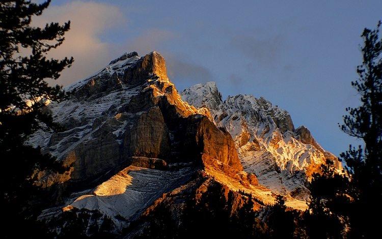 горы, скалы, восход, снег, канада, национальный парк банф, mountains, rocks, sunrise, snow, canada, banff national park