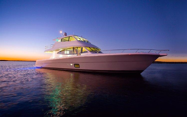 sunset, sea, yacht