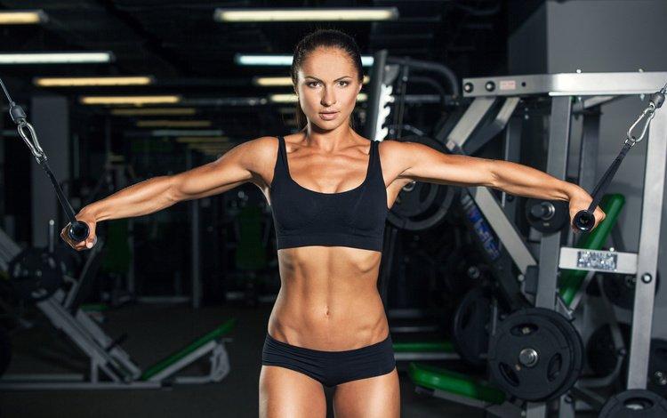 девушка, пресс, фитнес, бодибилдинг, тренировка, тренажерный зал, спортивная форма, разминка, girl, press, fitness, bodybuilding, training, gym, sports uniforms, warm-up