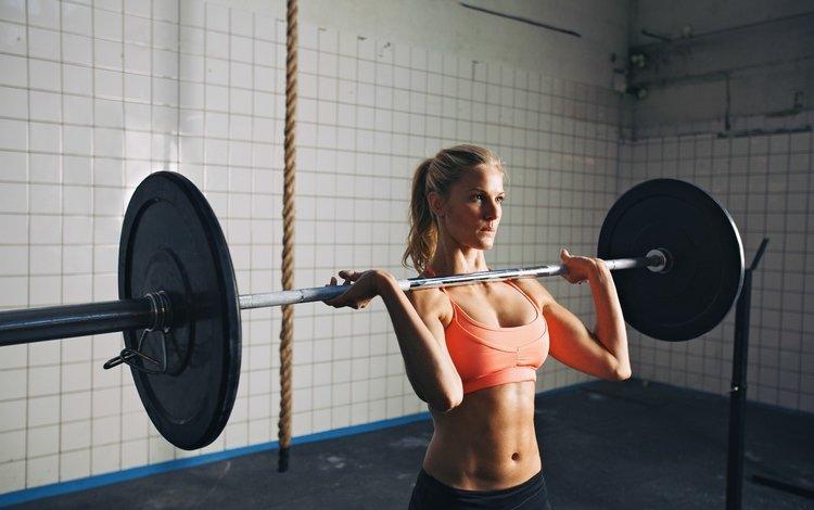 девушка, блондинка, грудь, штанга, тренировки, тяжелая атлетика, girl, blonde, chest, rod, workout, weightlifting