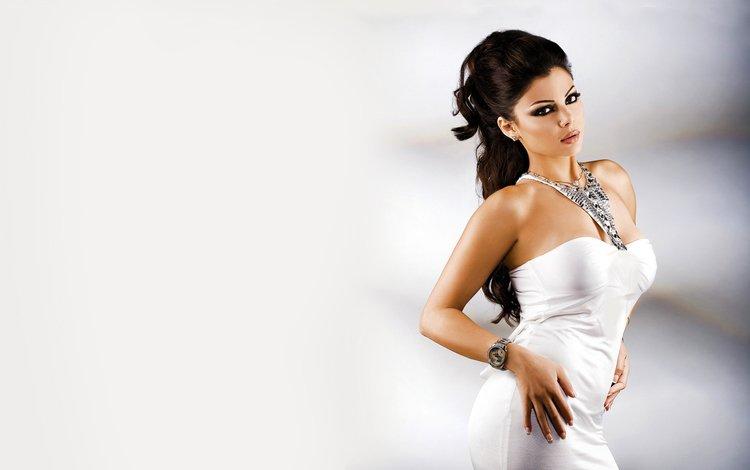девушка, макияж, поза, белое платье, брюнетка, haifa wehbe, хайфа вахби, взгляд, волосы, лицо, актриса, певица, girl, makeup, pose, white dress, brunette, haifa wahbi, look, hair, face, actress, singer