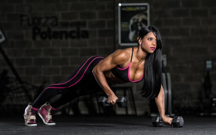 brunette, model, sport, fitness, sports wear, dumbbells, bodybuilding, training, pushups