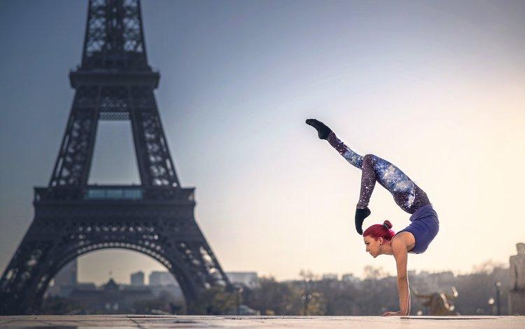 девушка, париж, гимнастка, спорт, эйфелева башня, грация, quincy azzario, girl, paris, gymnast, sport, eiffel tower, grace