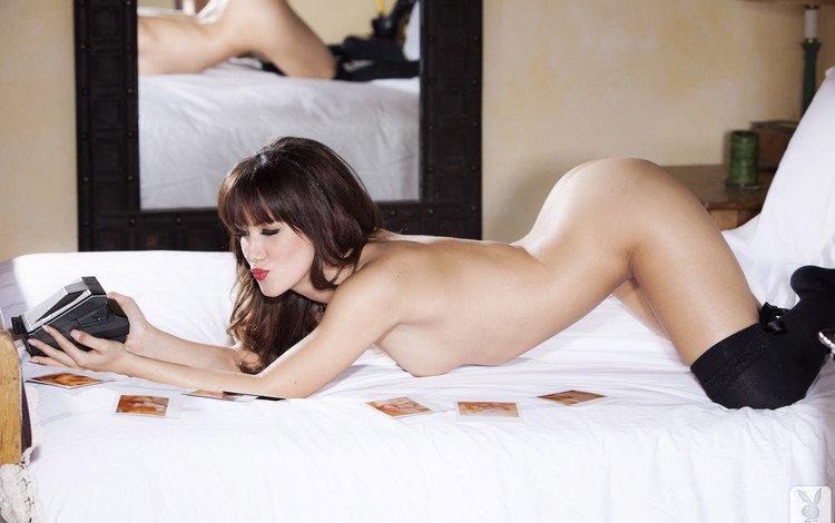 девушка, камера, постель, голая, girl, camera, bed, naked