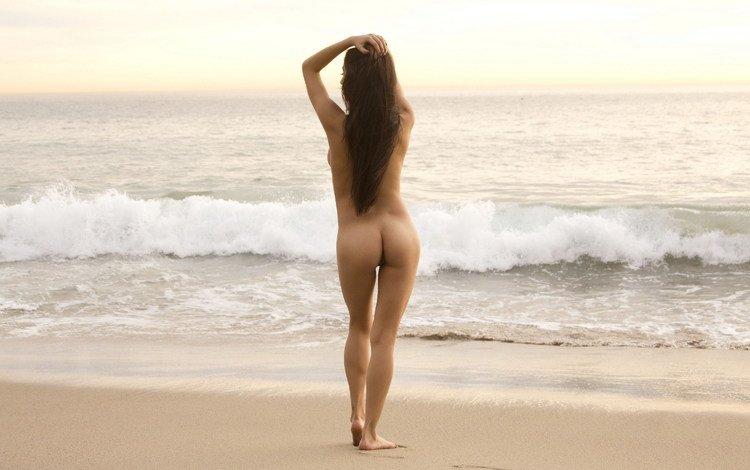девушка, море, песок, голая, megan salinas, girl, sea, sand, naked