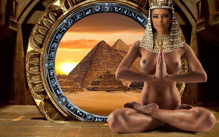 девушка, клеопатра, взгляд, сидит, волосы, лицо, голая, египет, царица, girl, cleopatra, look, sitting, hair, face, naked, egypt, queen