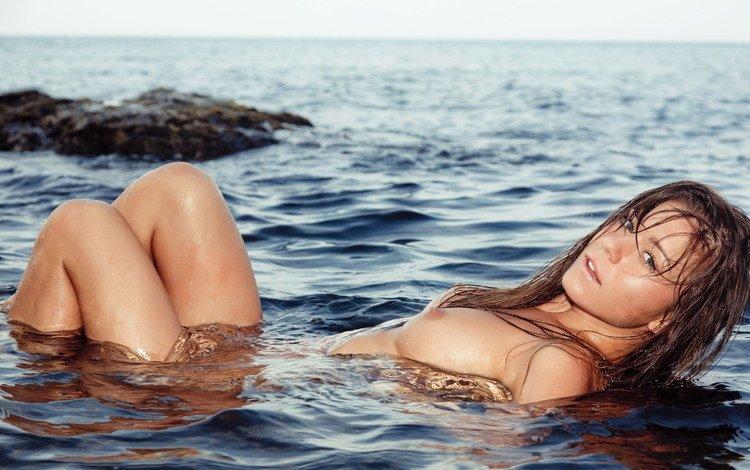 вода, девушка, море, голая, лили c, water, girl, sea, naked, lily c