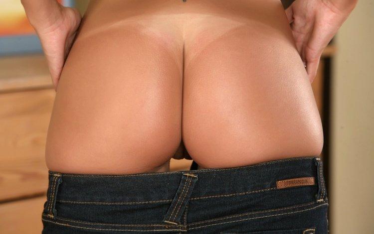 девушка, модель, джинсы, голая, попка, girl, model, jeans, naked, ass