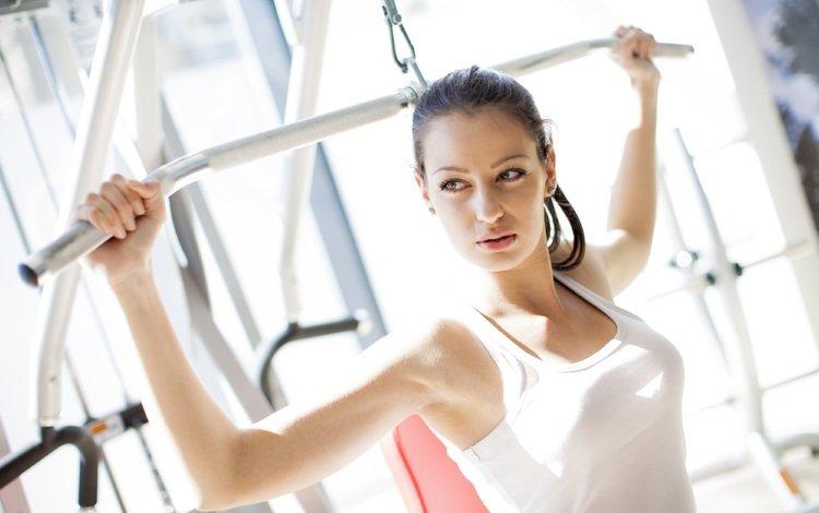девушка, модель, грудь, спорт, фитнес, тренажер, girl, model, chest, sport, fitness, trainer
