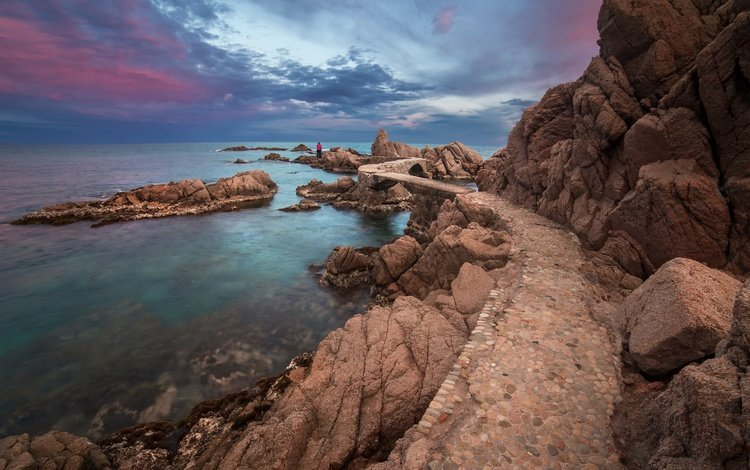 the sky, rocks, sunset, sea, horizon, coast, the ocean, spain, catalonia